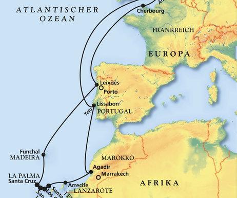 Kanaren Karte Europa.Kurs Kanaren Madeira Kreuzfahrt Mit Albatros