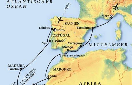 Meerenge Von Gibraltar Karte.Mittelmeer Kanaren Mittelmeer Kreuzfahrt Mit Amadea