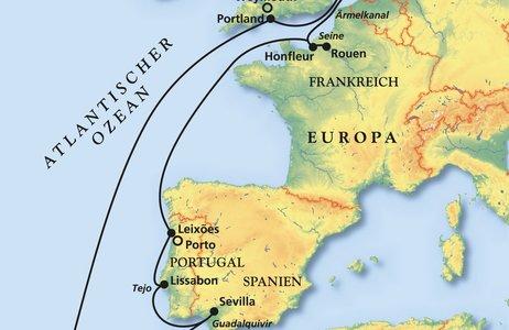Porto Portugal Karte.Grosse Westeuropa Kanaren Kreuzfahrt Kreuzfahrt Mit