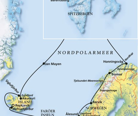 Nordpolarmeer Karte.Abenteuer Arktis Island Spitzbergen Norwegen Kreuzfahrt Mit