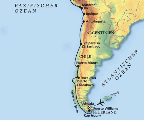 Atacama Wüste Karte.Das Beste Der Westküste Südamerikas Kreuzfahrt Mit Amadea
