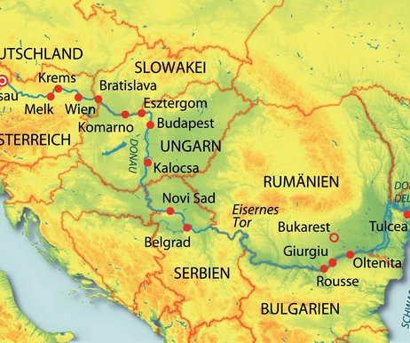 Österreich, Ungarn, Serbien, Rumänien, Bulgarien, Slowakei