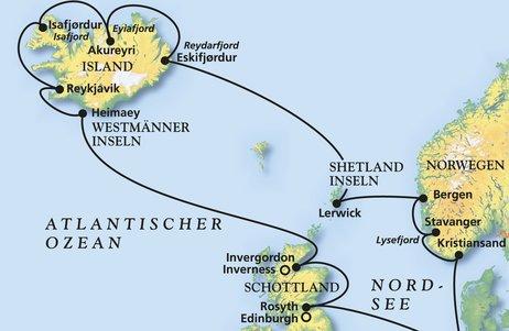 Pfingsturlaub Kurs Island & Norwegen - Kreuzfahrt mit Artania