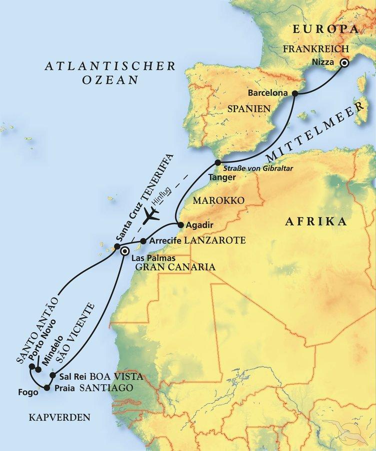 Spanien, Kapverden, Marokko, Frankreich