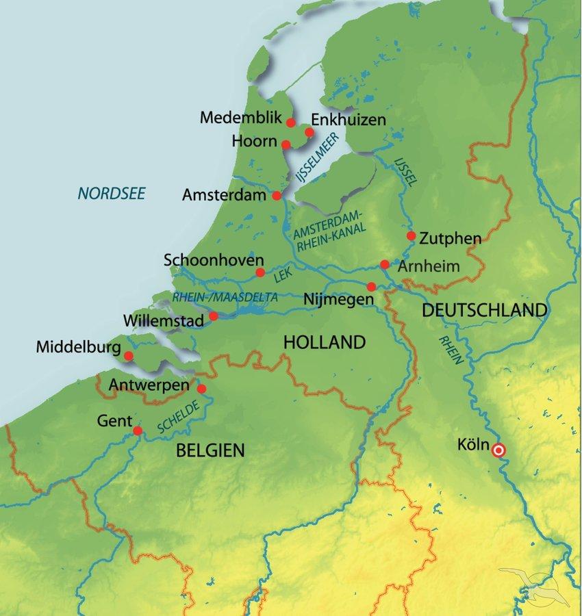 Karte Von Holland Und Belgien.Rhein Holland Und Belgien Intensiv Kreuzfahrt Mit Asara
