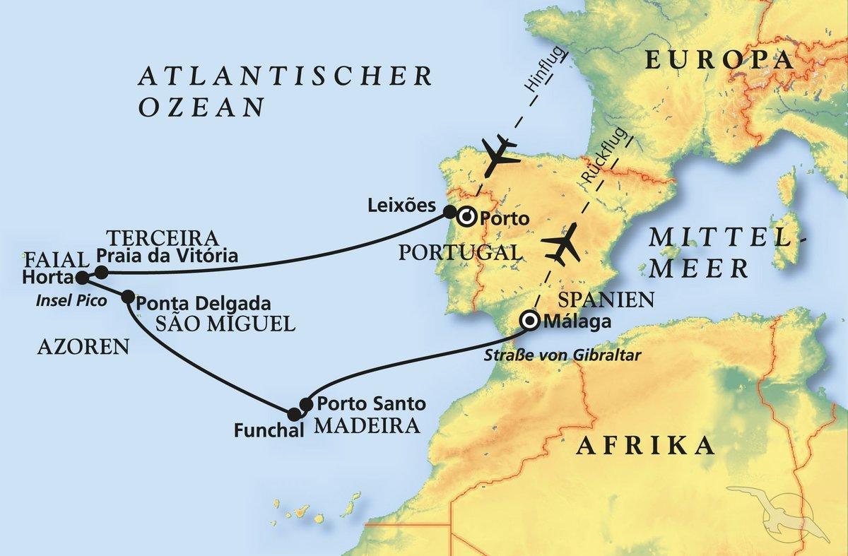 Porto Portugal Karte.Von Porto Nach Malaga Kreuzfahrt Mit Artania