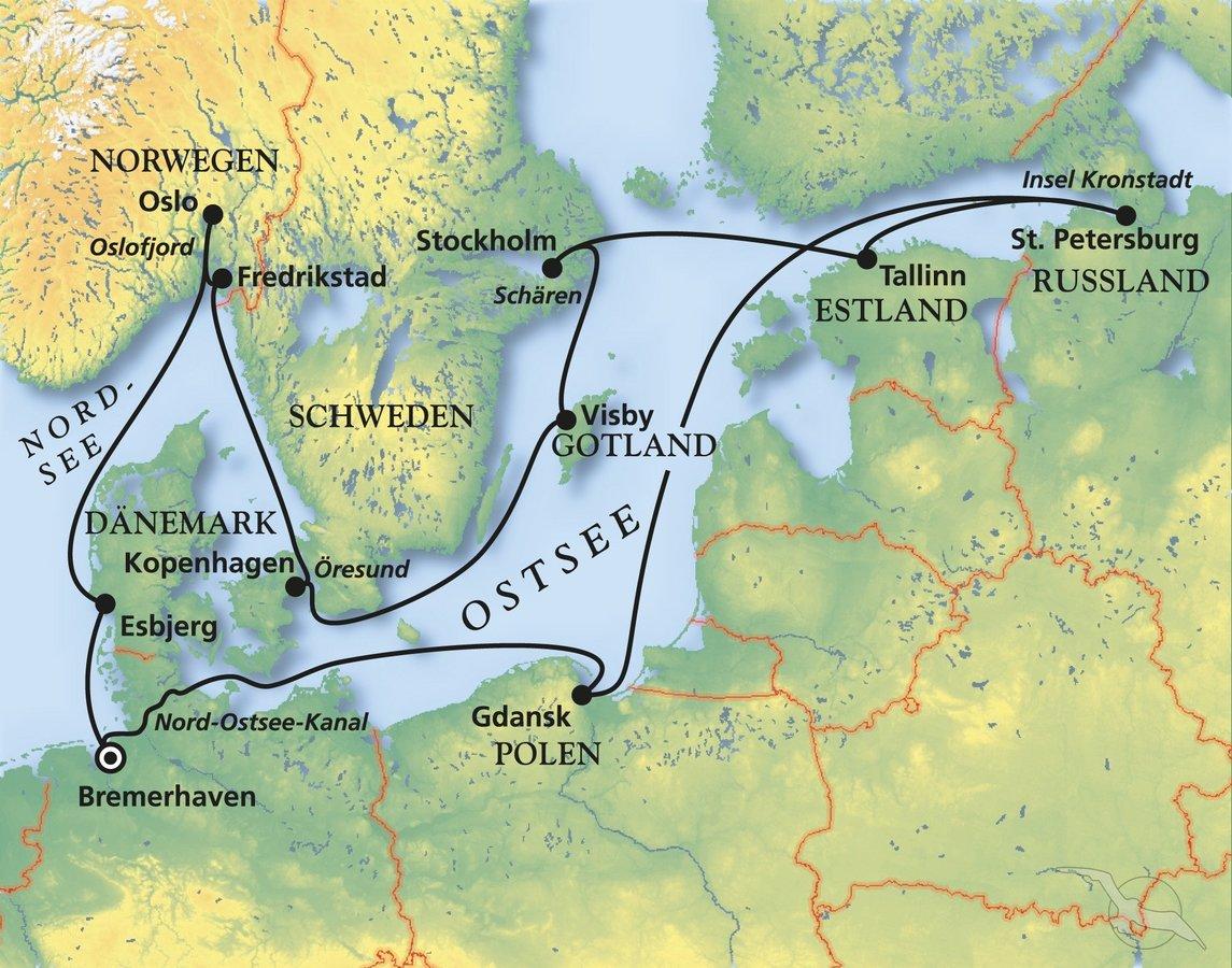 Karte Ostsee Deutschland.Ostsee Perlen Mit Fjord Schärenfahrt Kreuzfahrt Mit Deutschland