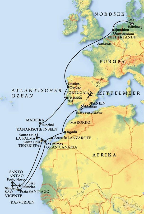 Nordpolarmeer Karte.Zu Den Sonnen Inseln Im Atlantik Kreuzfahrt Mit Artania
