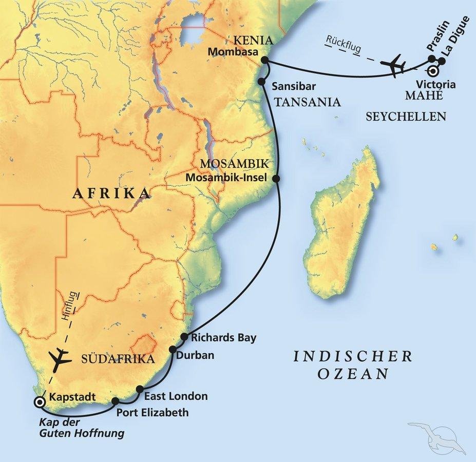 Seychellen Karte Afrika.Südafrika Sansibar Seychellen Kreuzfahrt Mit Albatros