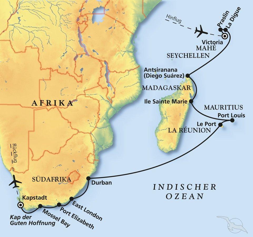 Seychellen Karte Afrika.Seychellen Mauritius Südafrika Kreuzfahrt Mit Albatros