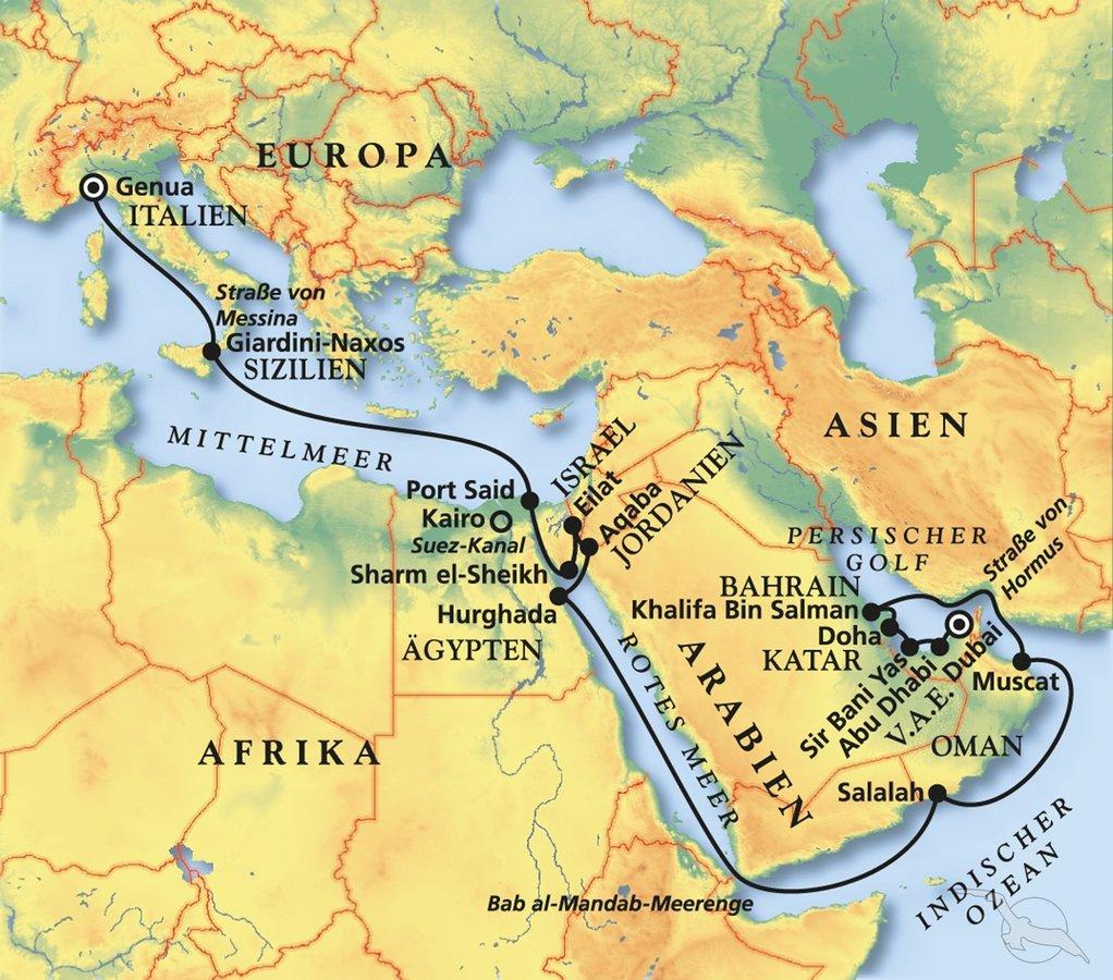 Vom Persischen Golf Zum Golf Von Aqaba Kreuzfahrt Mit Artania