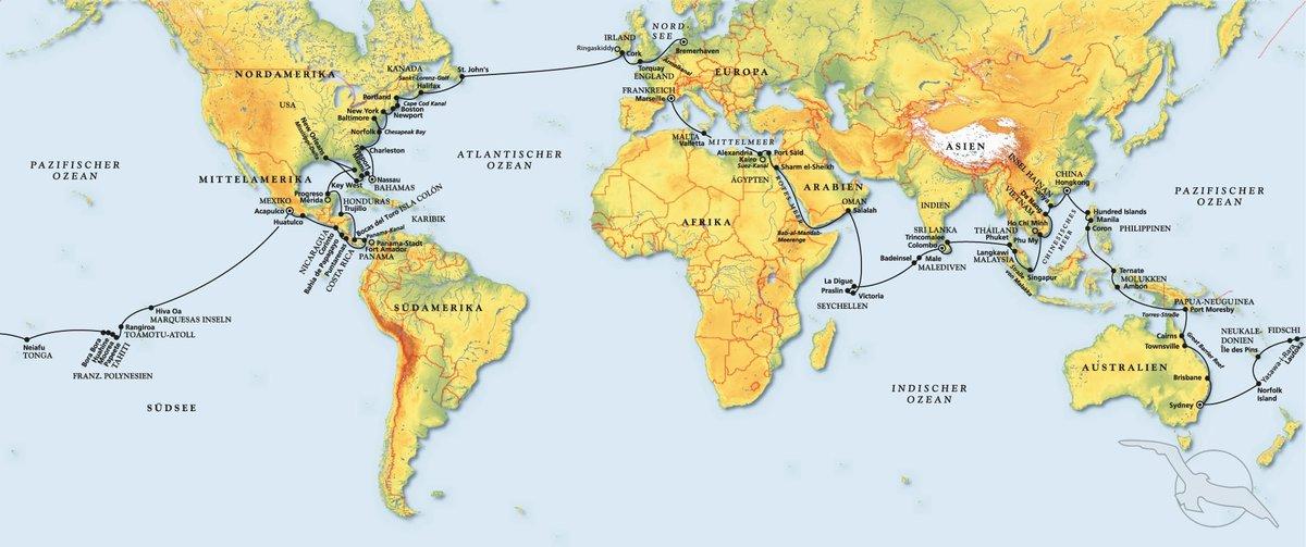 Karte Von Florida Westkuste.Weltreise Kreuzfahrt Mit Artania