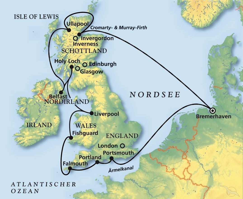 Schottische Möbel rund um großbritannien kreuzfahrt mit artania
