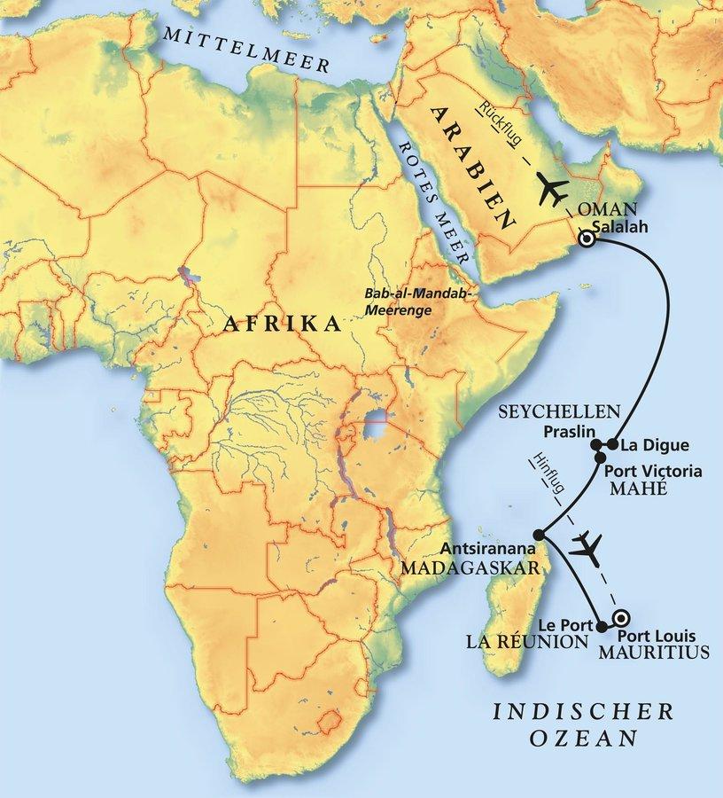 Karte Oman Salalah.Von Mauritius In Den Oman Kreuzfahrt Mit Amadea