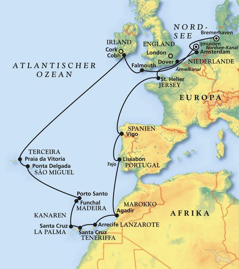 Teneriffa Karte Europa.Grosse Westeuropa Kanaren Kreuzfahrt Kreuzfahrt Mit