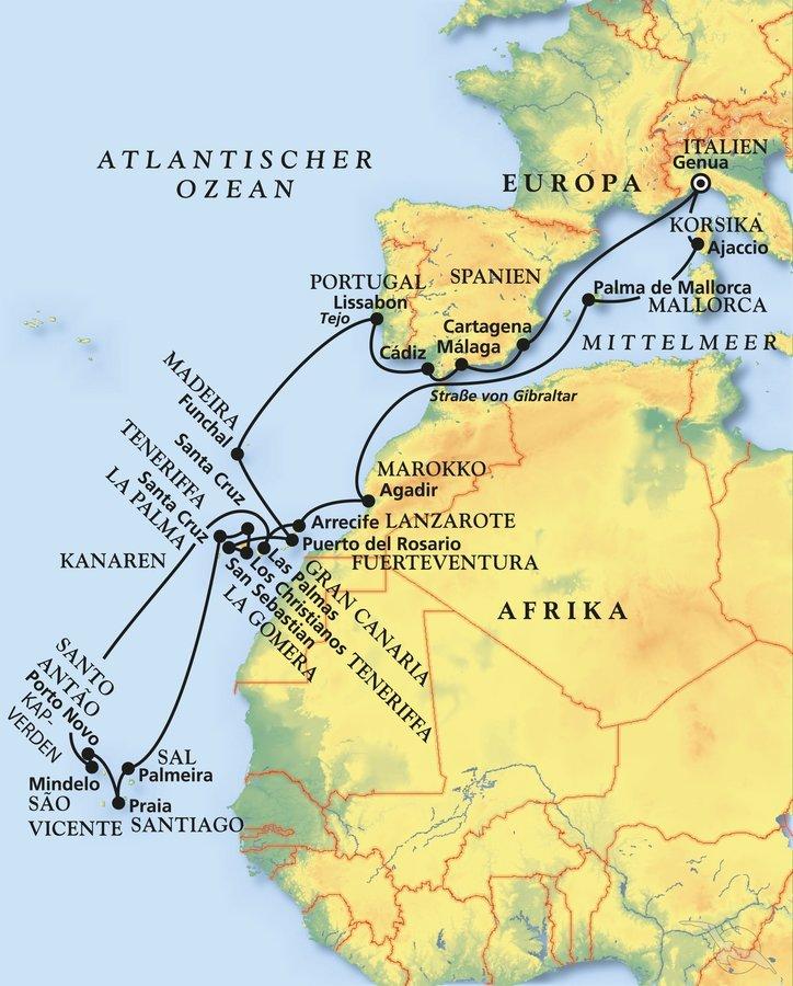Wo Liegt Kapverden Karte.Große Kanaren Kapverden Reise Kreuzfahrt Mit Artania