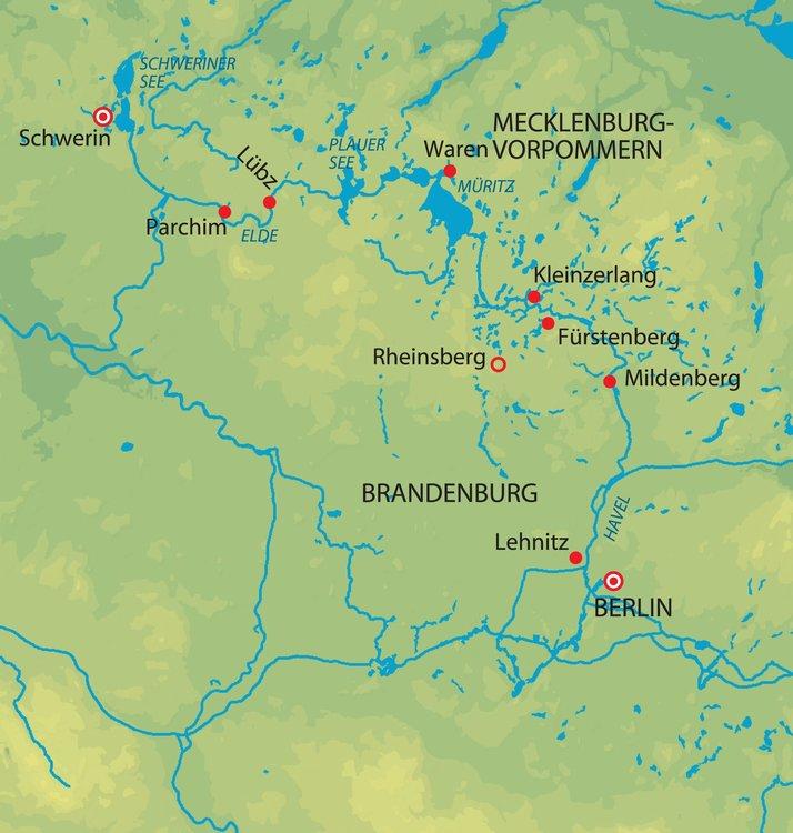 Karte Seen Mecklenburgische Seenplatte.Havel Mecklenburgische Seenplatte Tausend Seen Kreuzfahrt Mit