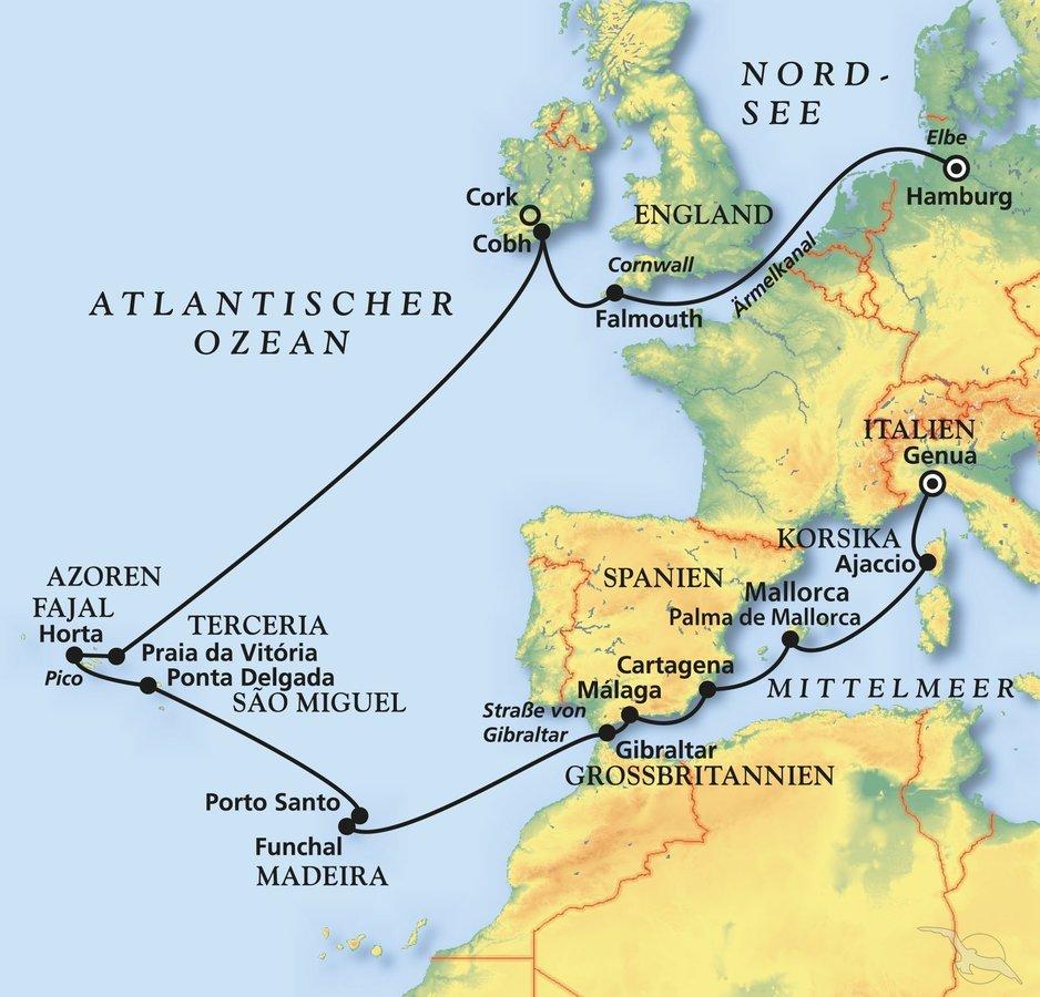 Azoren Karte.Ein Hoch Auf Die Azoren Kreuzfahrt Mit Artania