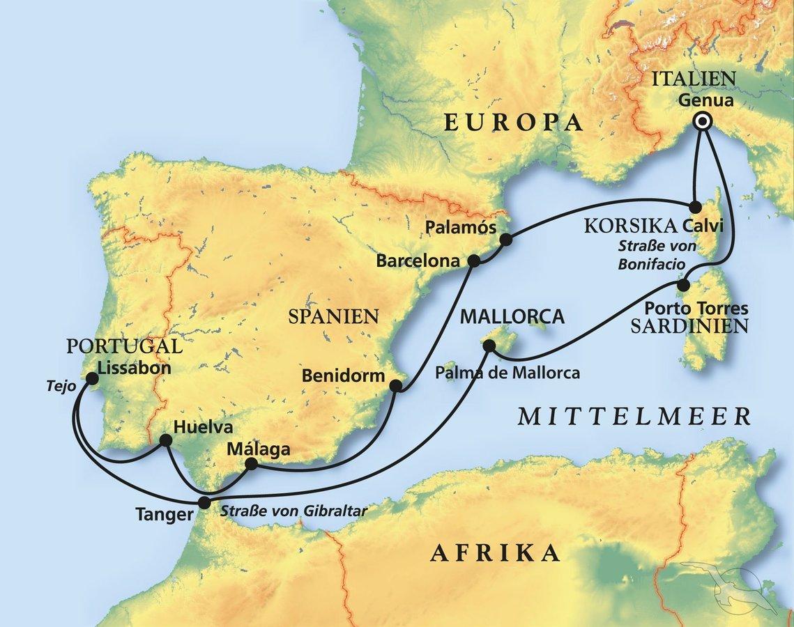 Mittelmeer Karte Europa.Westliches Mittelmeer Mit Atlantik Abstecher Kreuzfahrt