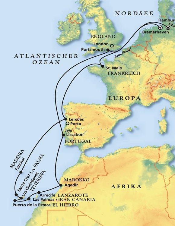 Teneriffa Karte Europa.Grosse Westeuropa Kanaren Kreuzfahrt Kreuzfahrt Mit Deutschland