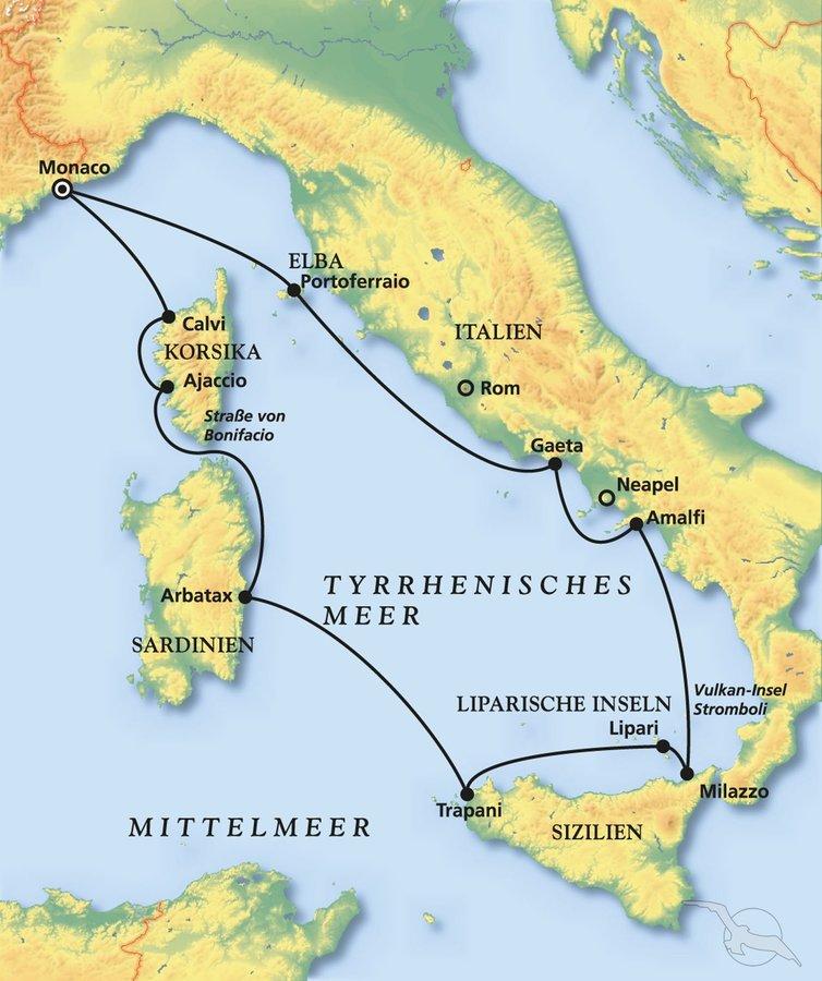Mittelmeer Karte Inseln.Traumhafte Kusten Und Inseln Des Tyrrhenischen Meeres