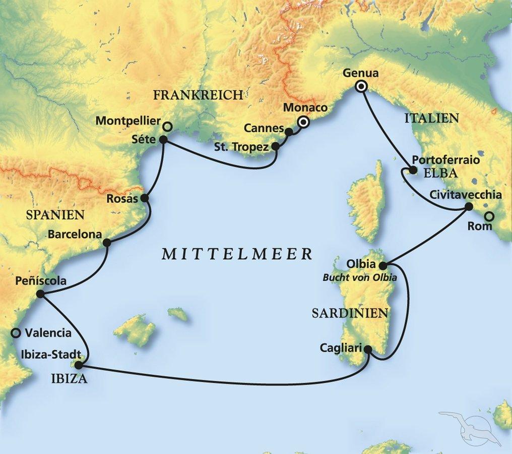 Monaco Italien Karte.Sommer Sonne Kreuzfahrttraume Im Westlichen Mittelmeer