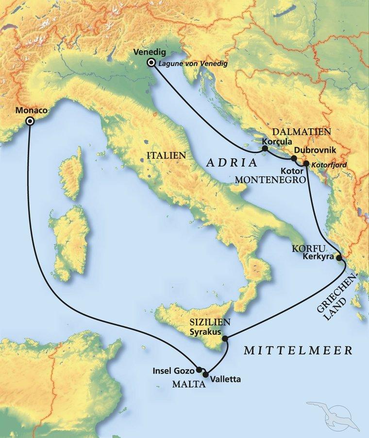 Monaco Italien Karte.Mediterranes Feuerwerk Zwischen Venedig Und Monaco
