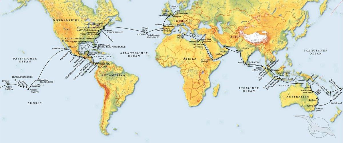 Nordpolarmeer Karte.In 125 Tagen Um Die Ganze Welt Kreuzfahrt Mit Amera