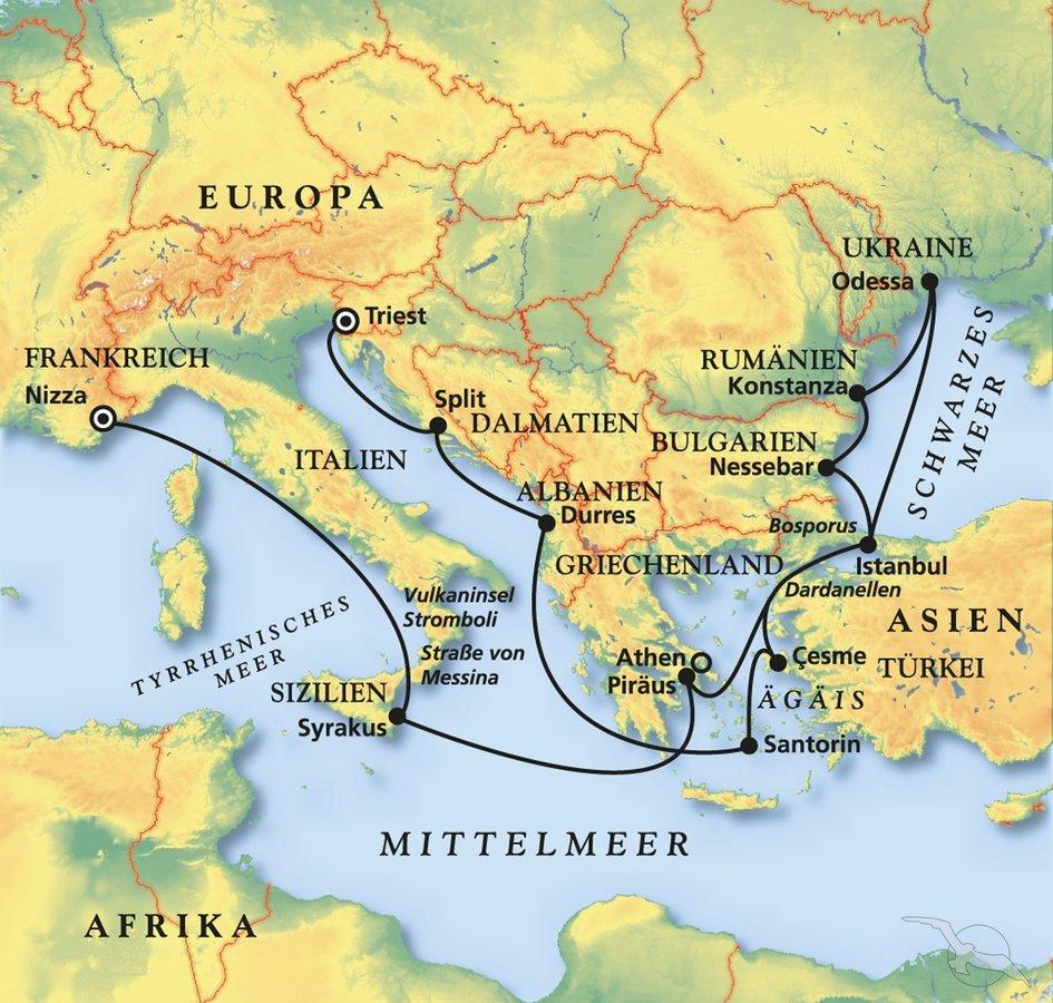 Türkische ägäis Karte.Schwarzes Meer ägäis Adria Vom Feinsten Kreuzfahrt Mit Amera