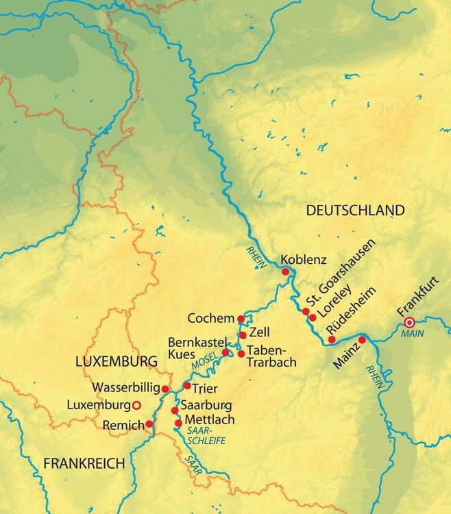 Main Fluss Karte.Flüsse Quartett Kreuzfahrt Mit Rhein Prinzessin