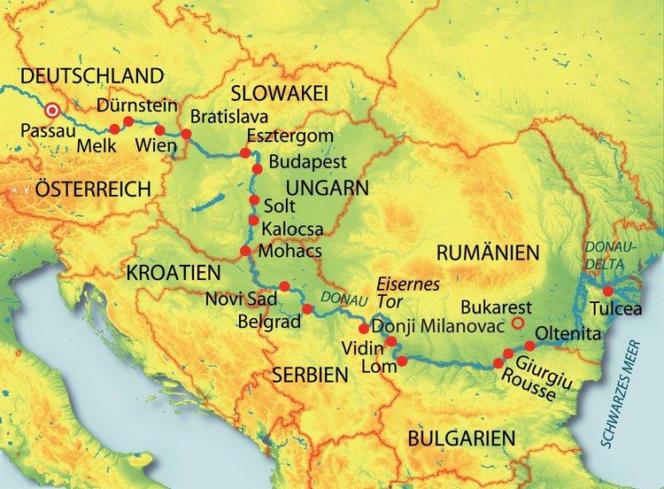 Deutschland, Slowakei, Österreich, Ungarn, Kroatien, Serbien, Rumänien