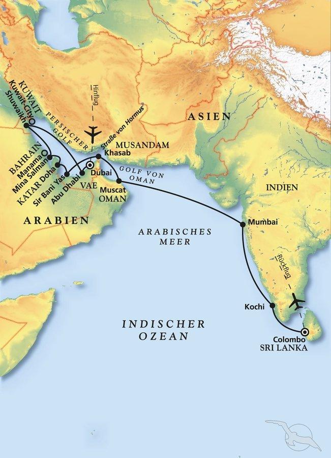 Sri Lanka Karte Zum Drucken.Vom Persischen Golf Nach Sri Lanka Kreuzfahrt Mit Artania