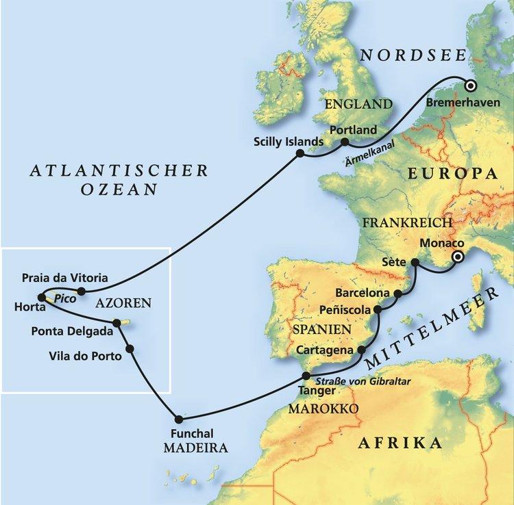 Azoren Karte Portugal.ärmelkanal Azoren Madeira Und Mittelmeer Kreuzfahrt Mit Albatros