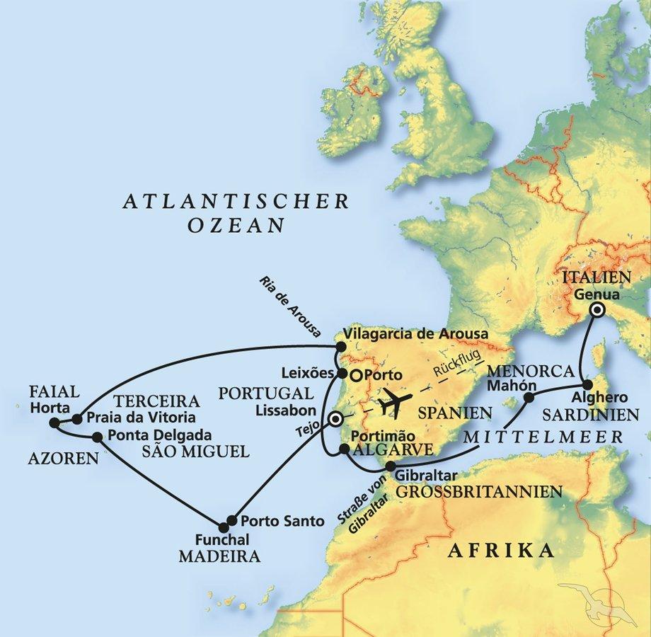 Azoren Karte.Azoren Madeira Und Portugal Kreuzfahrt Mit Amera