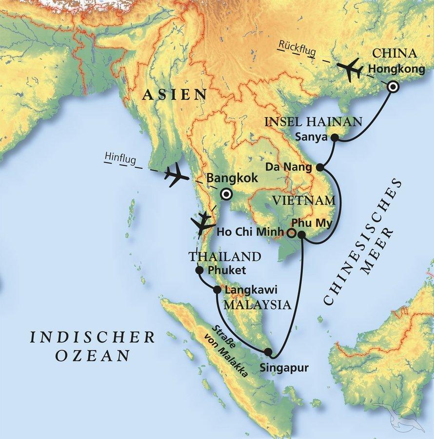 Thailand, Malaysia, Singapur, Vietnam, China