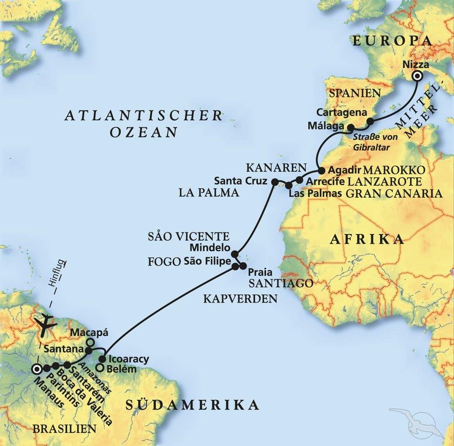 Karte Gibraltar Umgebung.Vom Größten Strom Der Welt Kurs Auf Das Mittelmeer Kreuzfahrt Mit