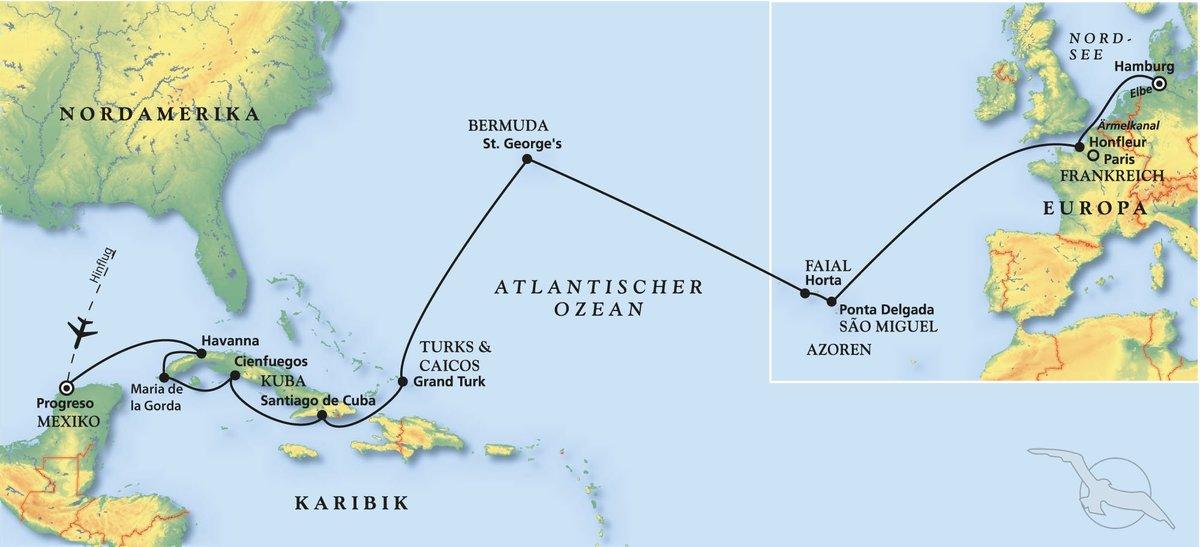 Havanna Kuba Karte.Kuba Karibik Und Azoren Kreuzfahrt Mit Albatros
