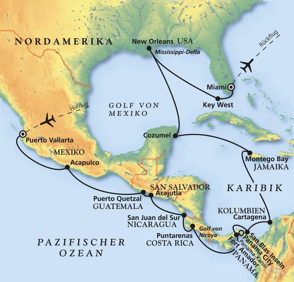 Indianerstamme Nordamerikas Karte.Von Mexiko Bis Miami Kreuzfahrt Mit Amadea