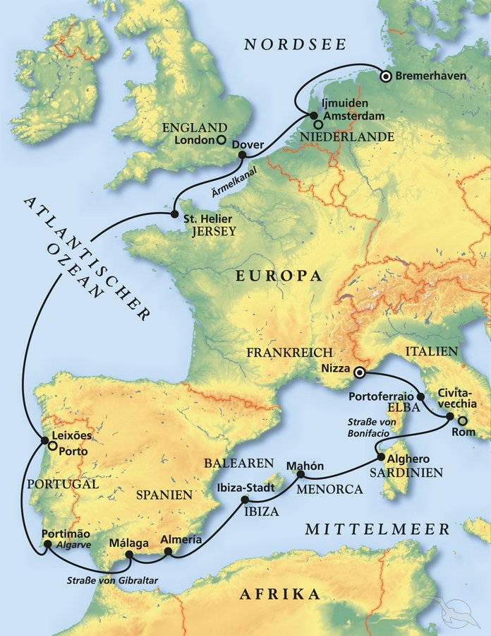 Karte Gibraltar Umgebung.Westeuropa Kanaren Kreuzfahrt Mit Amadea