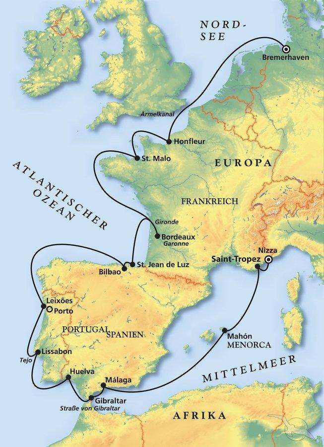 Karte Gibraltar Umgebung.Westeuropas Glanzlichter Kreuzfahrt Mit Amera
