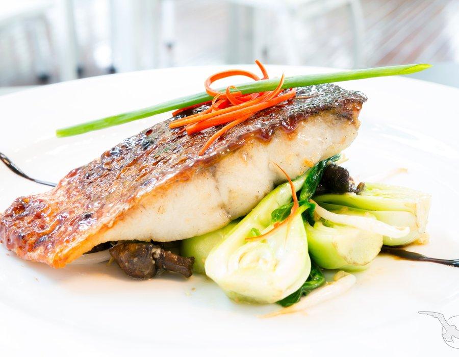 Frisch gebratener Barramundi Fisch