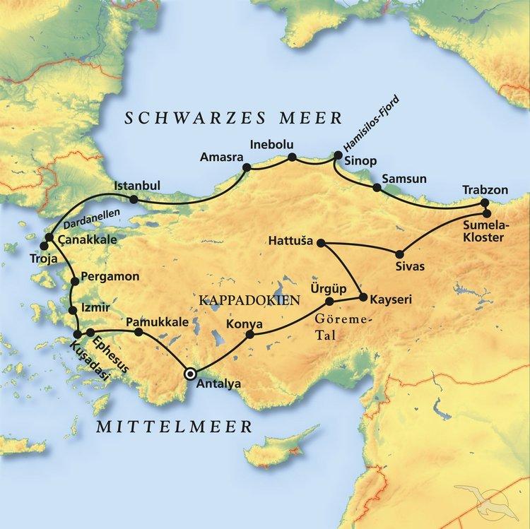 Karte Türkei Kappadokien.Rundreise Karadeniz Online Buchen Mit Phoenix Reisen Gmbh